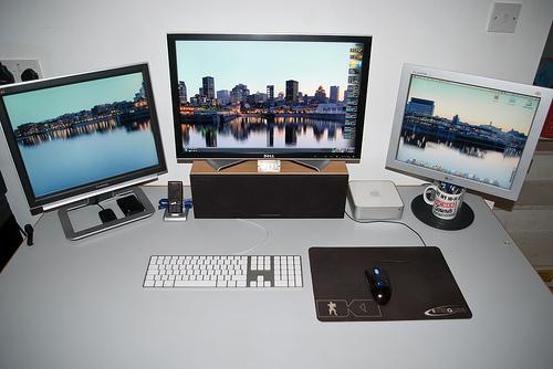 Desk and monitors