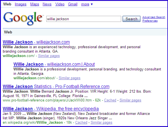 "Google search result for ""Willie Jackson"""